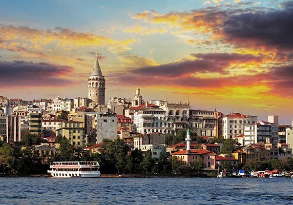 Istanbul at sunset - Galata district, Turkey
